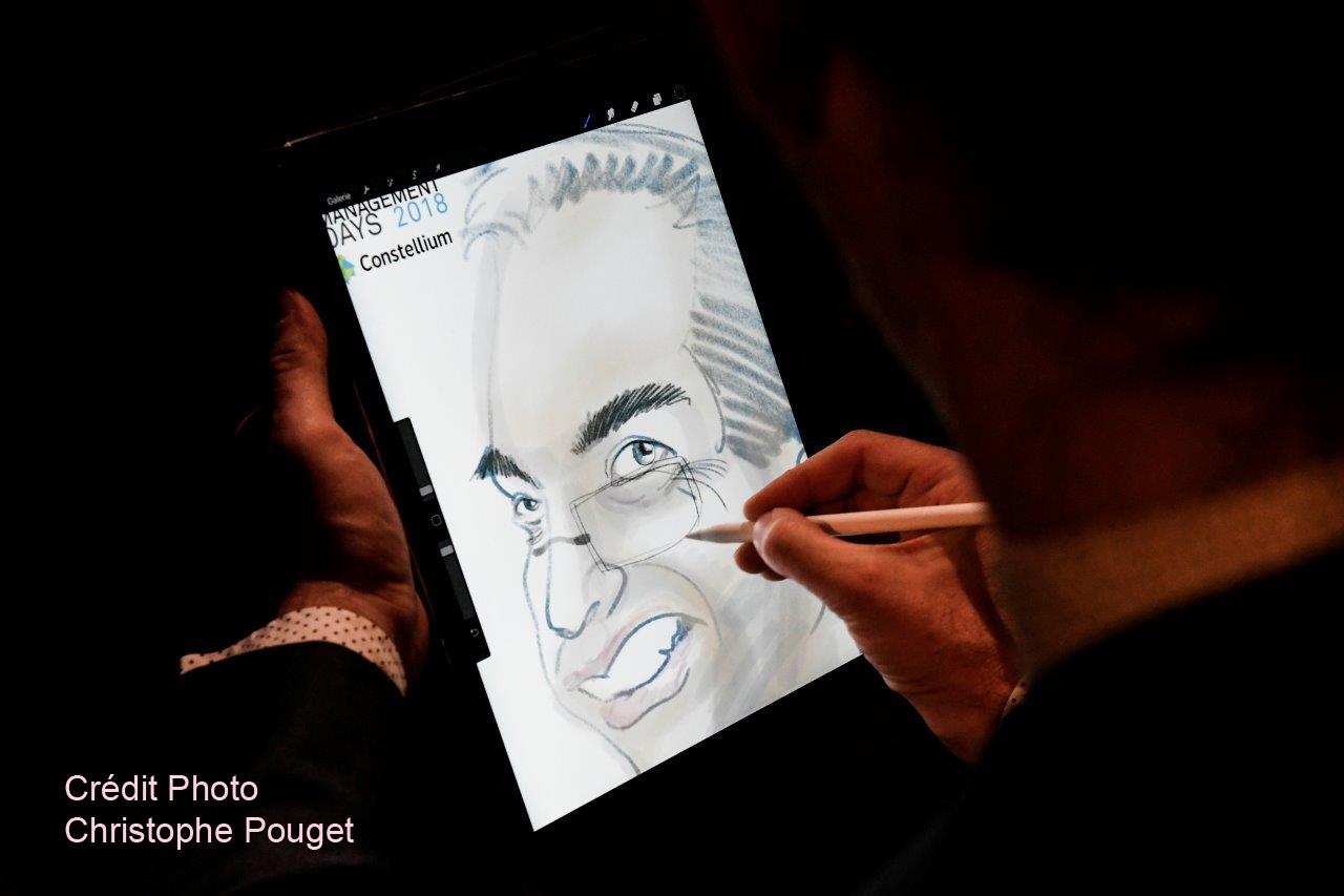 Caricature tablette numerique lyon